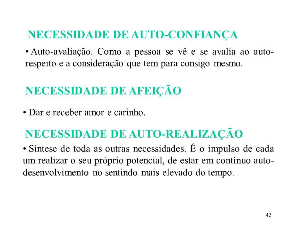 43 NECESSIDADE DE AUTO-CONFIANÇA Auto-avaliação.
