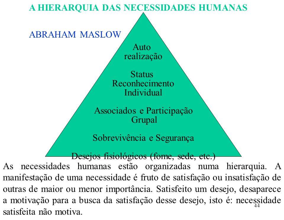 44 A HIERARQUIA DAS NECESSIDADES HUMANAS ABRAHAM MASLOW Auto realização Status Reconhecimento Individual Associados e Participação Grupal Sobrevivência e Segurança Desejos fisiológicos (fome, sede, etc.) As necessidades humanas estão organizadas numa hierarquia.