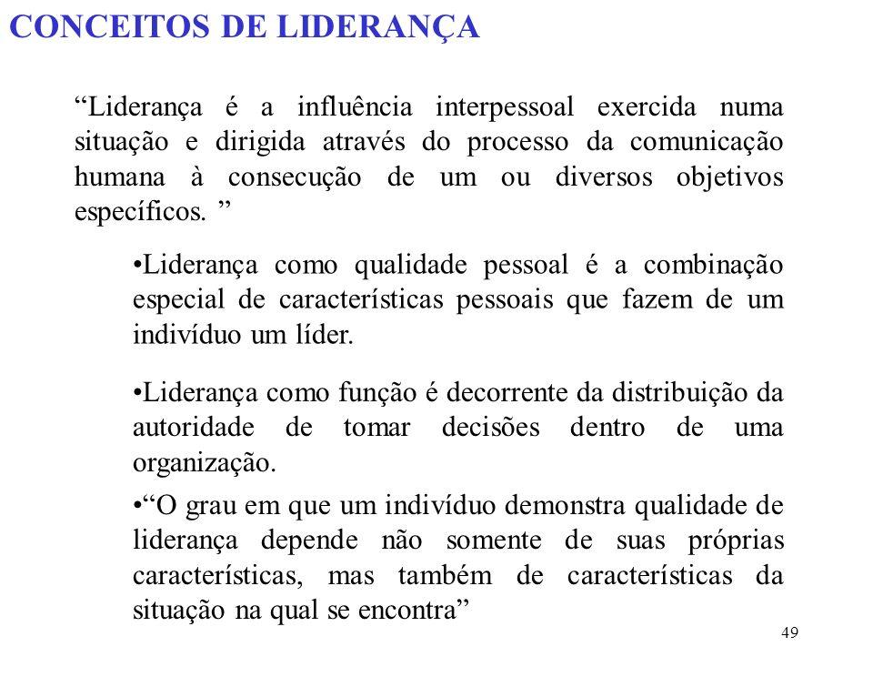 49 CONCEITOS DE LIDERANÇA Liderança é a influência interpessoal exercida numa situação e dirigida através do processo da comunicação humana à consecução de um ou diversos objetivos específicos.