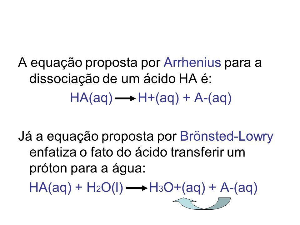 A equação proposta por Arrhenius para a dissociação de um ácido HA é: HA(aq) H+(aq) + A-(aq) Já a equação proposta por Brönsted-Lowry enfatiza o fato