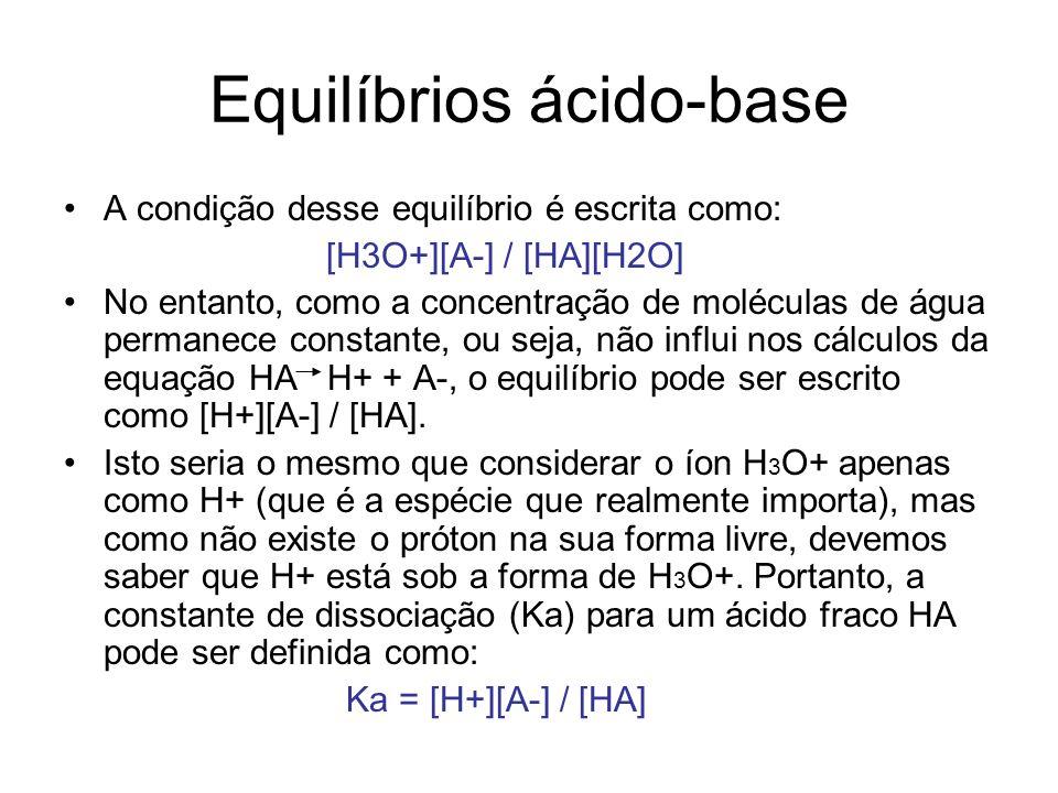 Equilíbrios ácido-base A condição desse equilíbrio é escrita como: [H3O+][A-] / [HA][H2O] No entanto, como a concentração de moléculas de água permane