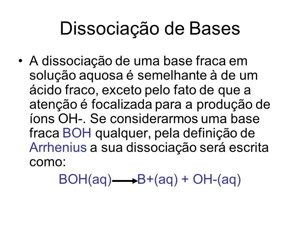 Já a equação proposta por Brönsted- Lowry enfatiza o fato da base agir como receptora de um próton da água: BOH(aq) + H2O(l) BH+(aq) + OH-(aq)