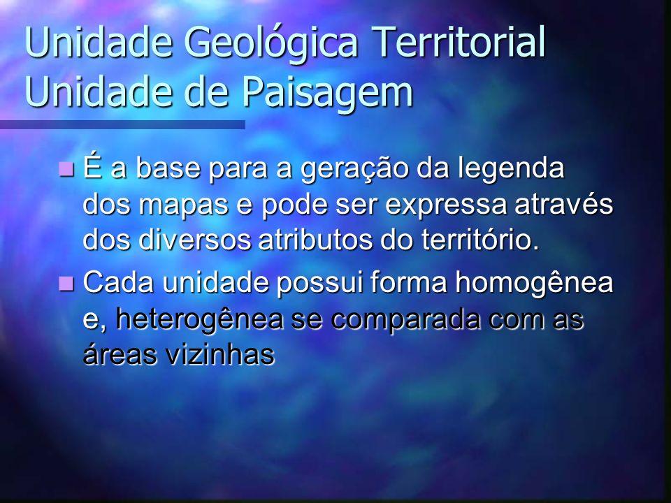 Unidade Geológica Territorial Unidade de Paisagem É a base para a geração da legenda dos mapas e pode ser expressa através dos diversos atributos do t