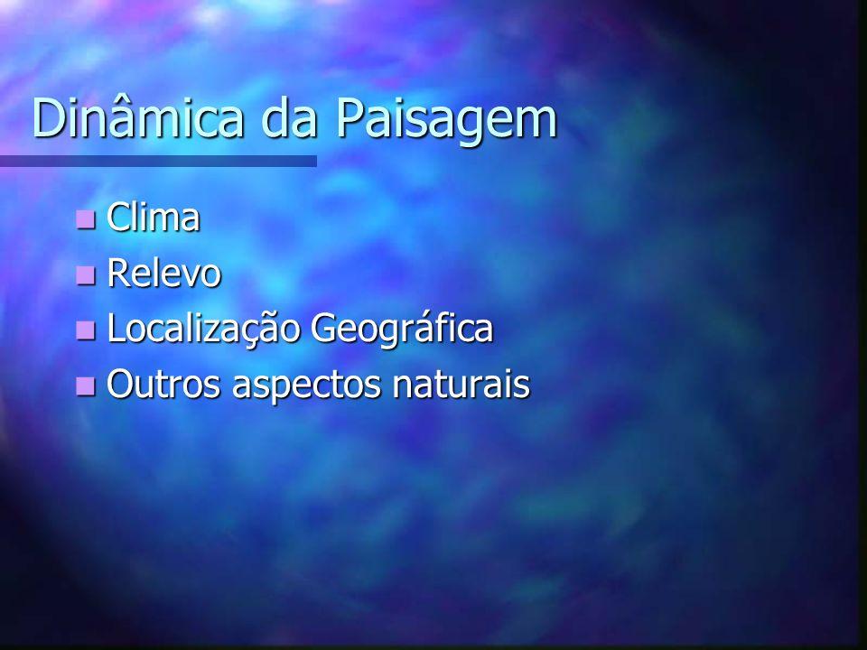 Dinâmica da Paisagem Clima Clima Relevo Relevo Localização Geográfica Localização Geográfica Outros aspectos naturais Outros aspectos naturais