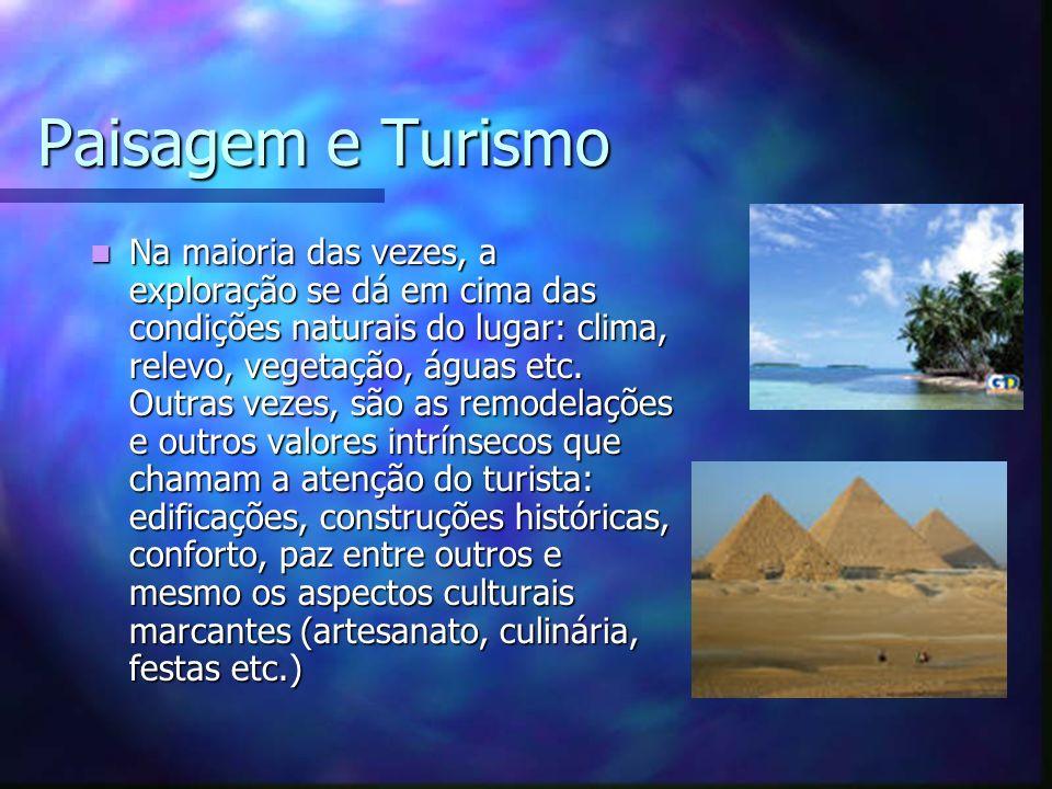 Paisagem e Turismo Na maioria das vezes, a exploração se dá em cima das condições naturais do lugar: clima, relevo, vegetação, águas etc. Outras vezes