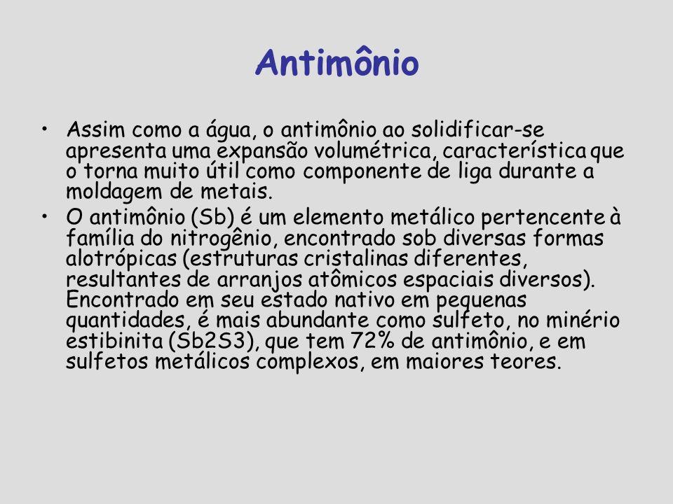 Antimônio Em estado bruto o antimônio é um sólido cristalino, porém friável, de coloração branco-acinzentada e brilho metálico, sendo bom condutor térmico e elétrico.