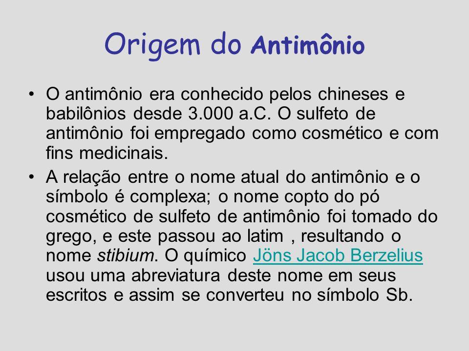 Origem do Antimônio O antimônio era conhecido pelos chineses e babilônios desde 3.000 a.C. O sulfeto de antimônio foi empregado como cosmético e com f