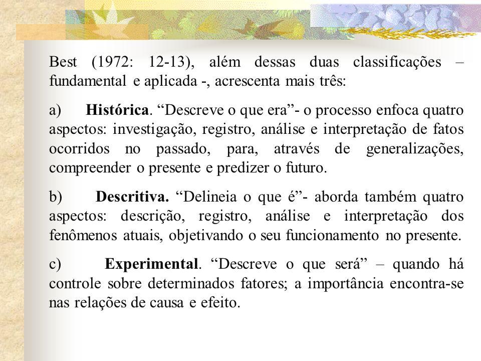 Best (1972: 12-13), além dessas duas classificações – fundamental e aplicada -, acrescenta mais três: a) Histórica. Descreve o que era- o processo enf