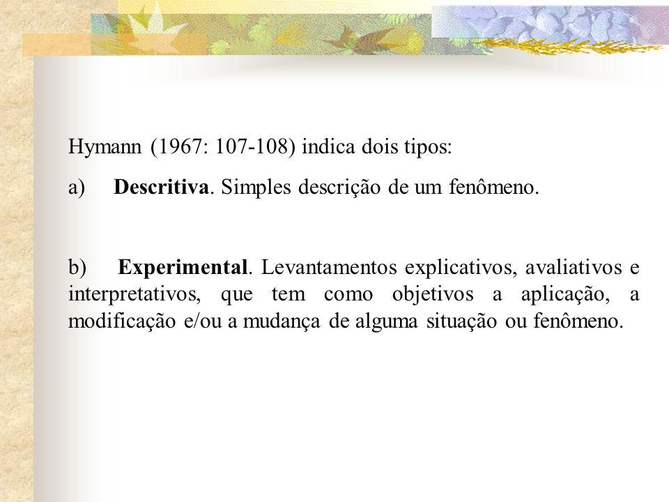 Hymann (1967: 107-108) indica dois tipos: a) Descritiva. Simples descrição de um fenômeno. b) Experimental. Levantamentos explicativos, avaliativos e
