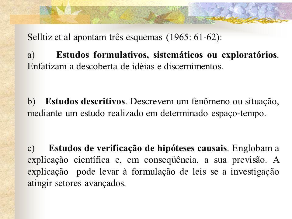 Selltiz et al apontam três esquemas (1965: 61-62): a) Estudos formulativos, sistemáticos ou exploratórios. Enfatizam a descoberta de idéias e discerni