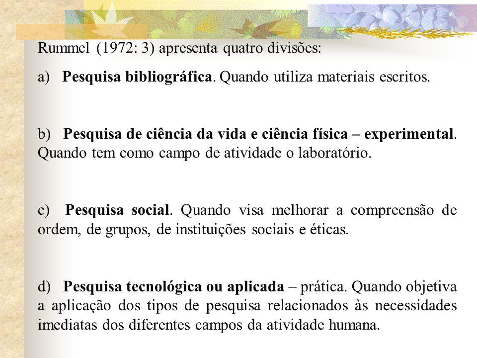 Rummel (1972: 3) apresenta quatro divisões: a) Pesquisa bibliográfica. Quando utiliza materiais escritos. b) Pesquisa de ciência da vida e ciência fís