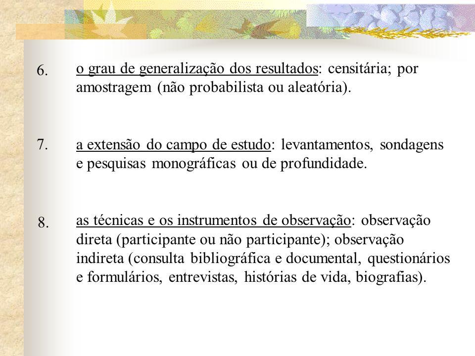 o grau de generalização dos resultados: censitária; por amostragem (não probabilista ou aleatória). a extensão do campo de estudo: levantamentos, sond