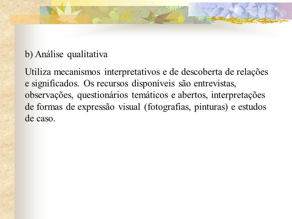 b) Análise qualitativa Utiliza mecanismos interpretativos e de descoberta de relações e significados. Os recursos disponíveis são entrevistas, observa