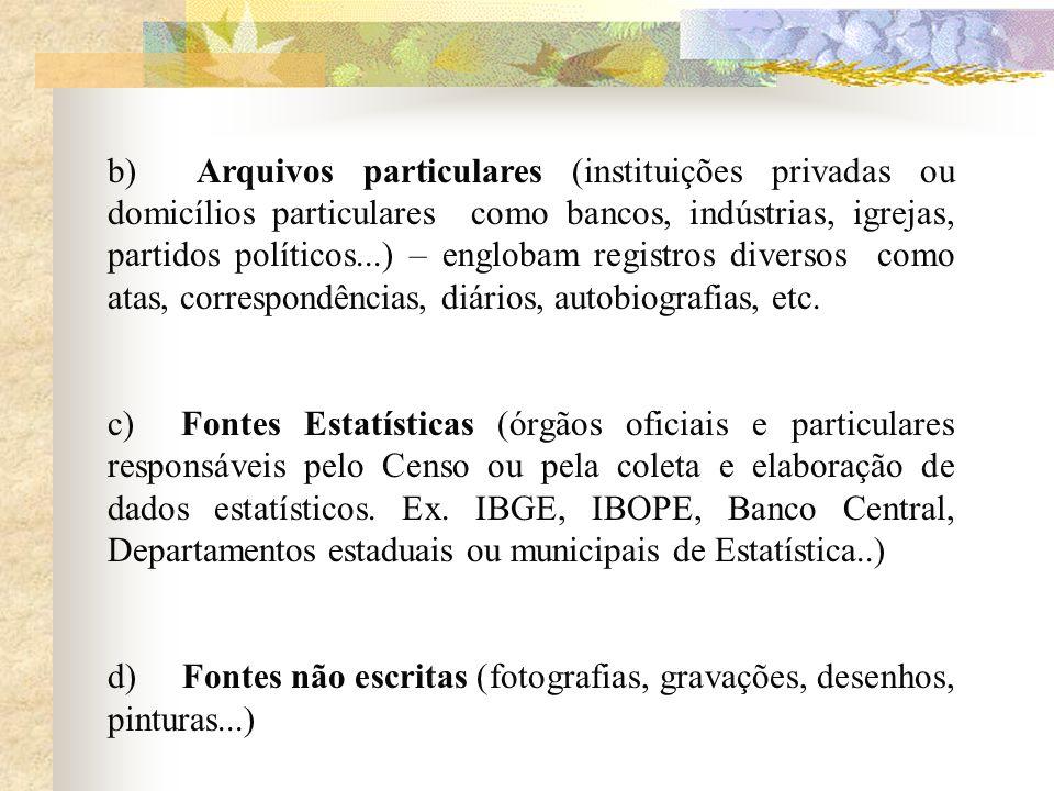 b) Arquivos particulares (instituições privadas ou domicílios particulares como bancos, indústrias, igrejas, partidos políticos...) – englobam registr