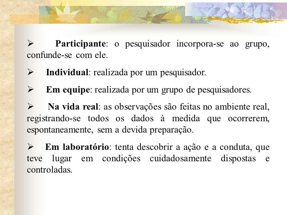 Participante: o pesquisador incorpora-se ao grupo, confunde-se com ele. Individual: realizada por um pesquisador. Em equipe: realizada por um grupo de