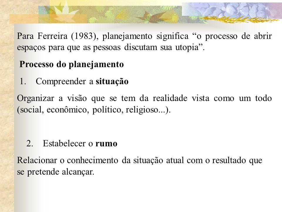 Para Ferreira (1983), planejamento significa o processo de abrir espaços para que as pessoas discutam sua utopia. Processo do planejamento 1. Compreen