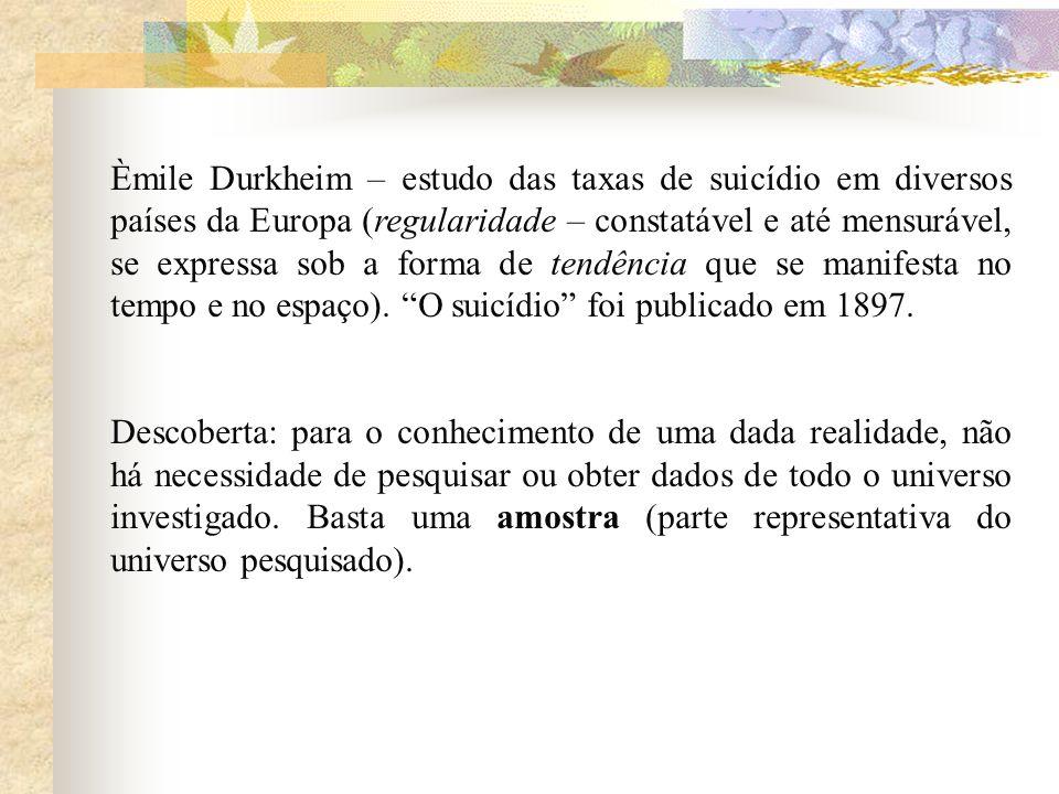 Èmile Durkheim – estudo das taxas de suicídio em diversos países da Europa (regularidade – constatável e até mensurável, se expressa sob a forma de te