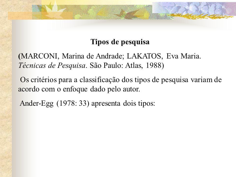 Tipos de pesquisa (MARCONI, Marina de Andrade; LAKATOS, Eva Maria. Técnicas de Pesquisa. São Paulo: Atlas, 1988) Os critérios para a classificação dos