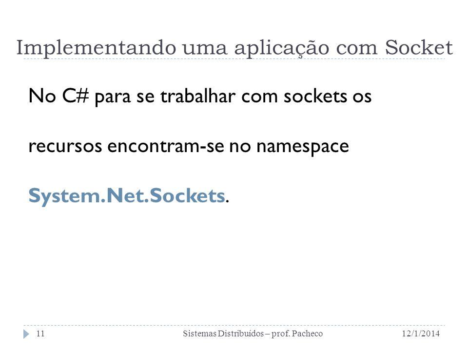 No C# para se trabalhar com sockets os recursos encontram-se no namespace System.Net.Sockets. 12/1/2014Sistemas Distribuídos – prof. Pacheco11 Impleme