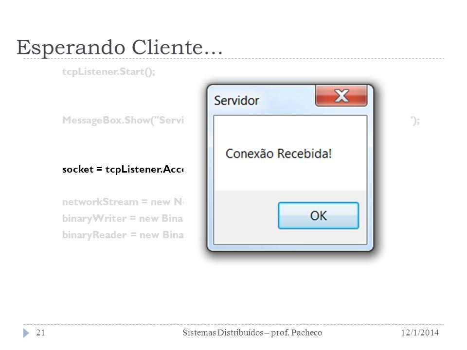 Esperando Cliente... tcpListener.Start(); MessageBox.Show(