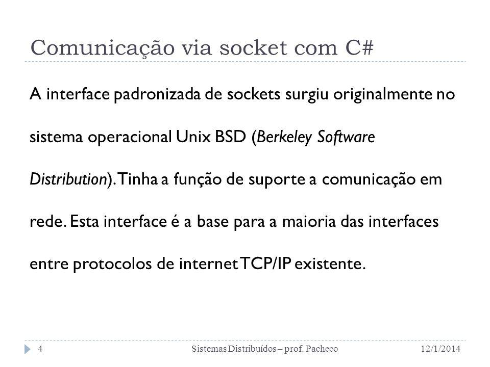 Comunicação via socket com C# A interface padronizada de sockets surgiu originalmente no sistema operacional Unix BSD (Berkeley Software Distribution)