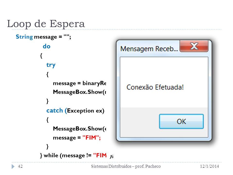Loop de Espera String message =