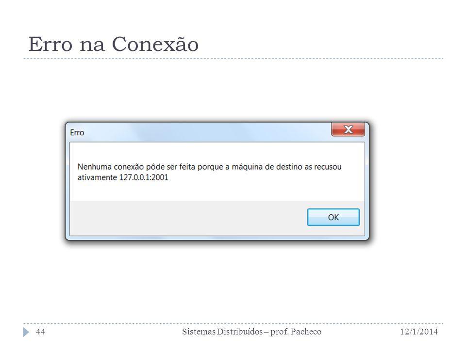Erro na Conexão 12/1/2014Sistemas Distribuídos – prof. Pacheco44