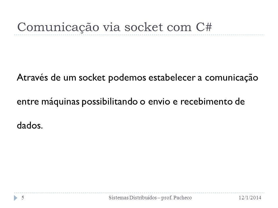 Comunicação via socket com C# Através de um socket podemos estabelecer a comunicação entre máquinas possibilitando o envio e recebimento de dados. 12/