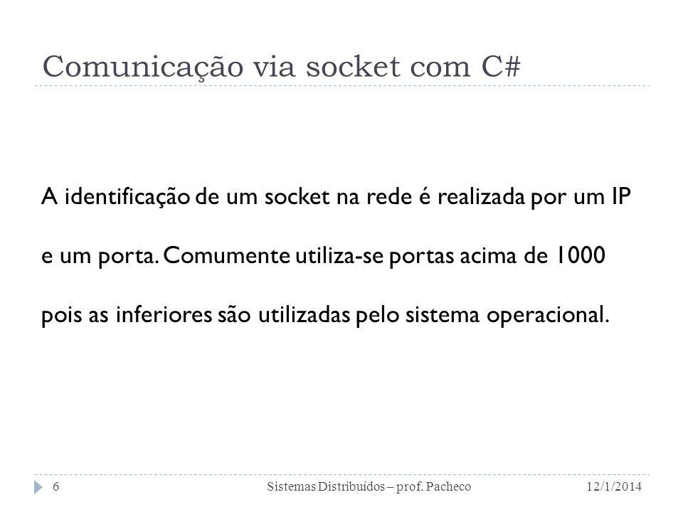 Comunicação via socket com C# A identificação de um socket na rede é realizada por um IP e um porta. Comumente utiliza-se portas acima de 1000 pois as