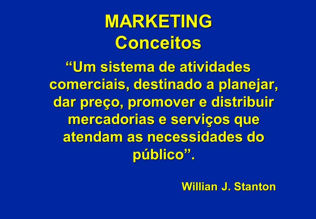 MARKETING Conceitos Um sistema de atividades comerciais, destinado a planejar, dar preço, promover e distribuir mercadorias e serviços que atendam as