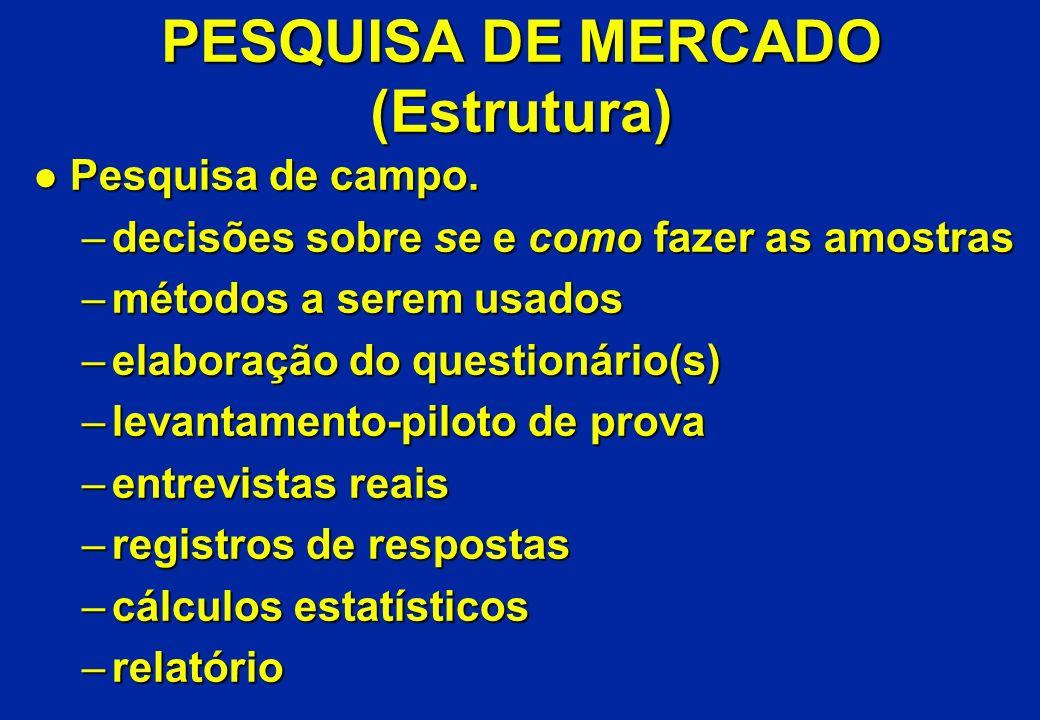 PESQUISA DE MERCADO (Estrutura) l Pesquisa de campo. –decisões sobre se e como fazer as amostras –métodos a serem usados –elaboração do questionário(s