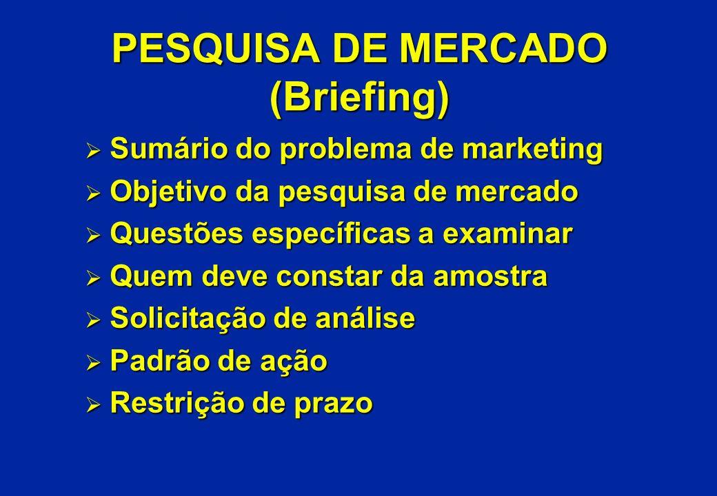 PESQUISA DE MERCADO (Briefing) Ø Sumário do problema de marketing Ø Objetivo da pesquisa de mercado Ø Questões específicas a examinar Ø Quem deve cons