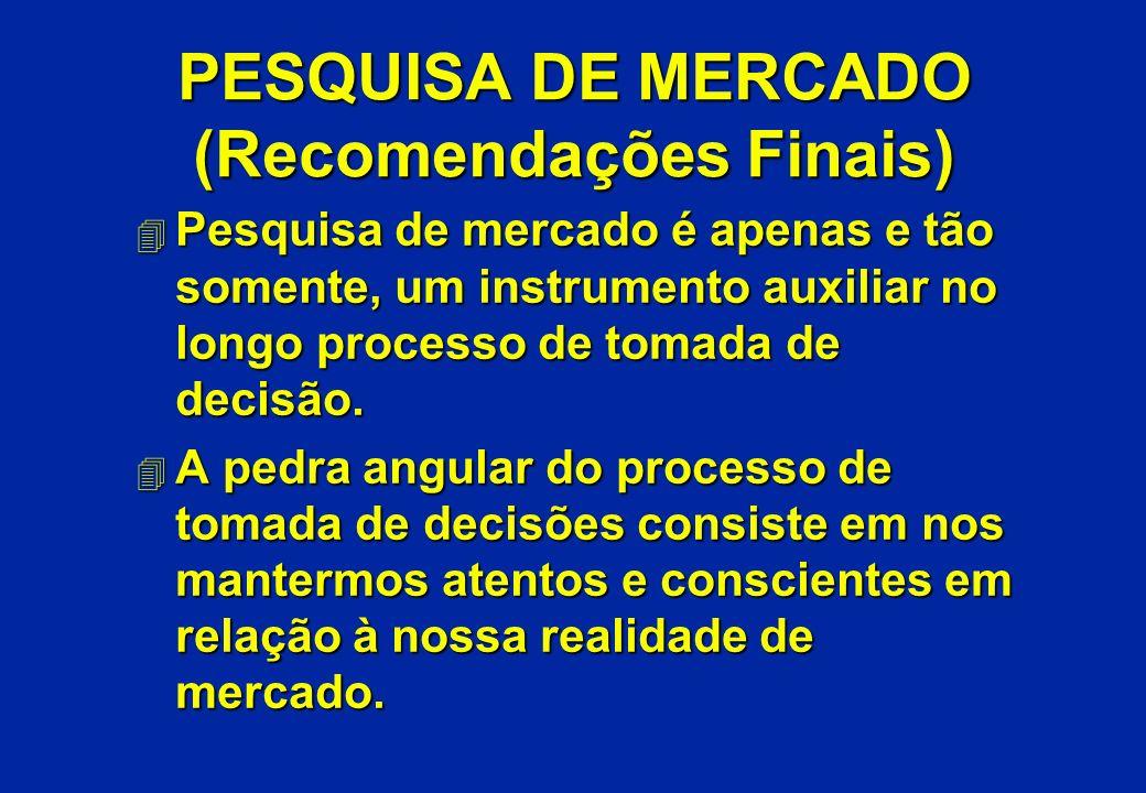 PESQUISA DE MERCADO (Recomendações Finais) 4 Pesquisa de mercado é apenas e tão somente, um instrumento auxiliar no longo processo de tomada de decisã