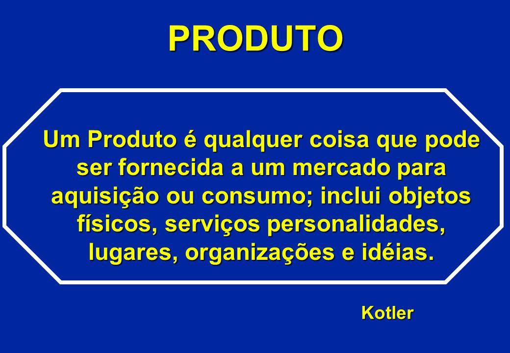 PRODUTO Um Produto é qualquer coisa que pode ser fornecida a um mercado para aquisição ou consumo; inclui objetos físicos, serviços personalidades, lu