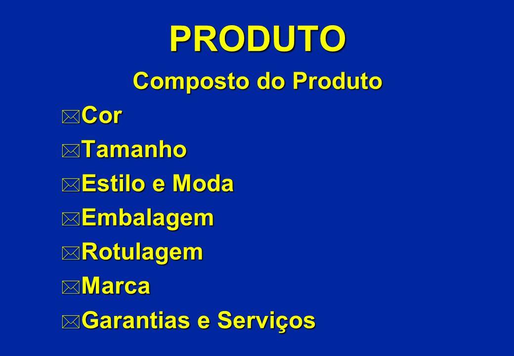 PRODUTO Composto do Produto * Cor * Tamanho * Estilo e Moda * Embalagem * Rotulagem * Marca * Garantias e Serviços