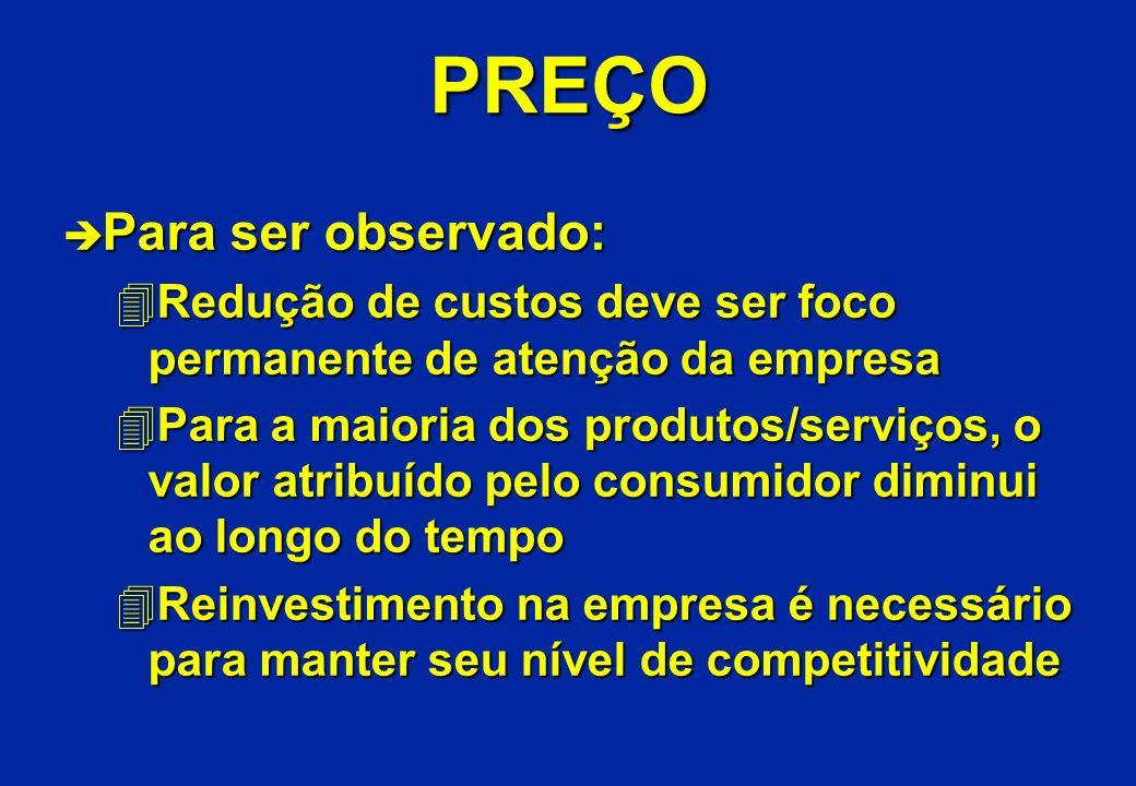 PREÇO è Para ser observado: 4Redução de custos deve ser foco permanente de atenção da empresa 4Para a maioria dos produtos/serviços, o valor atribuído