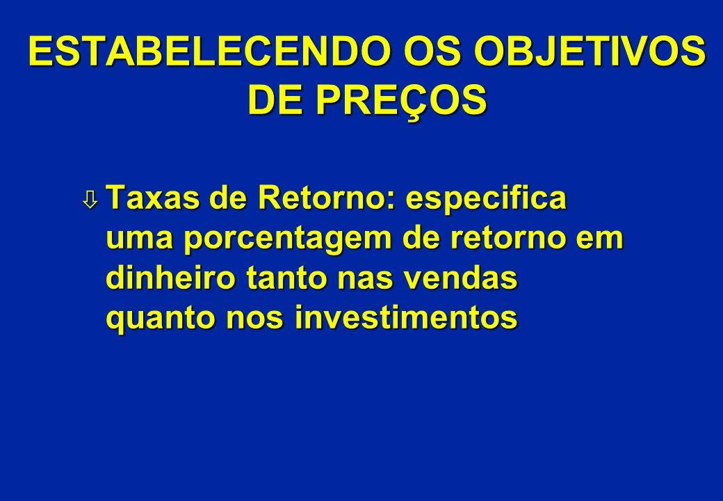 ESTABELECENDO OS OBJETIVOS DE PREÇOS ò Taxas de Retorno: especifica uma porcentagem de retorno em dinheiro tanto nas vendas quanto nos investimentos