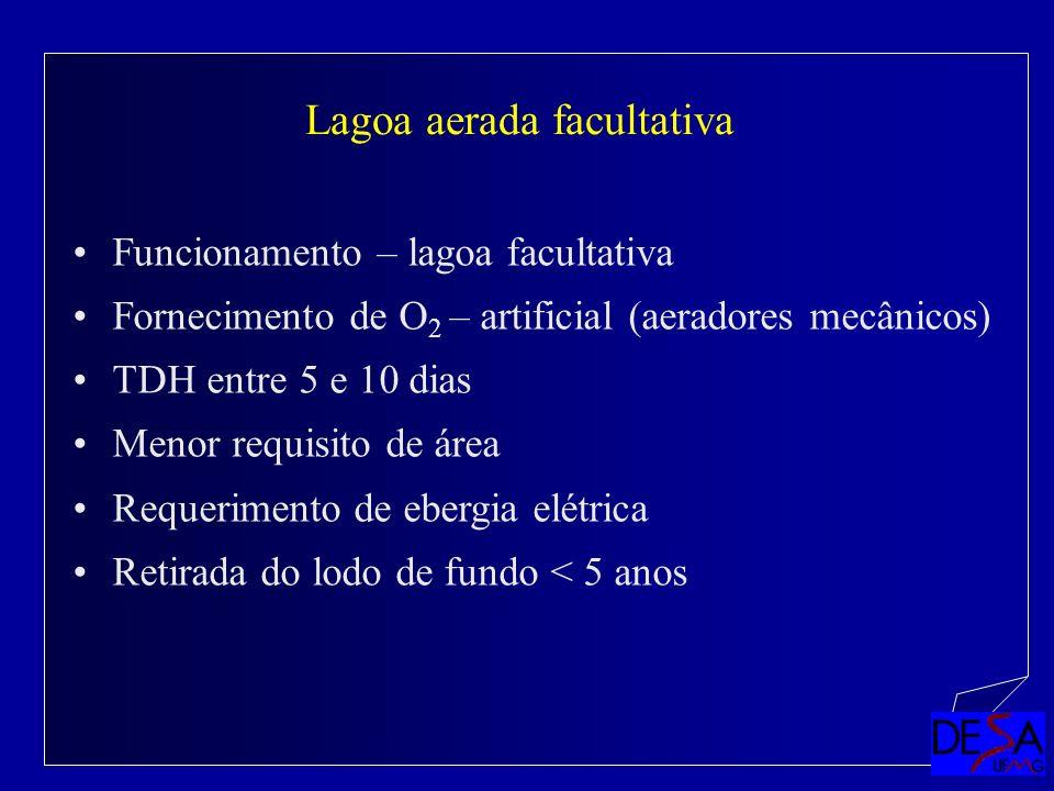 Funcionamento – lagoa facultativa Fornecimento de O 2 – artificial (aeradores mecânicos) TDH entre 5 e 10 dias Menor requisito de área Requerimento de