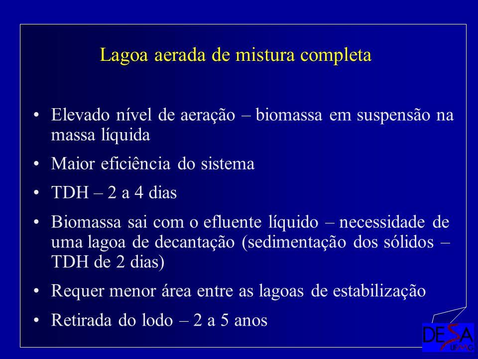 Elevado nível de aeração – biomassa em suspensão na massa líquida Maior eficiência do sistema TDH – 2 a 4 dias Biomassa sai com o efluente líquido – n