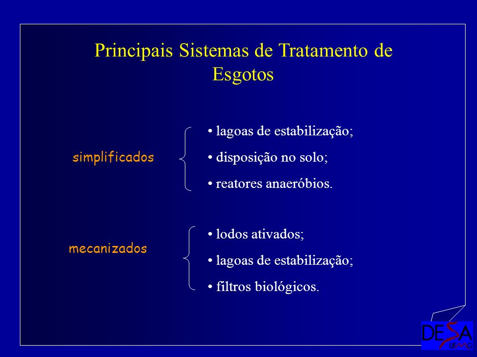 Principais Sistemas de Tratamento de Esgotos mecanizados simplificados lagoas de estabilização; disposição no solo; reatores anaeróbios. lodos ativado