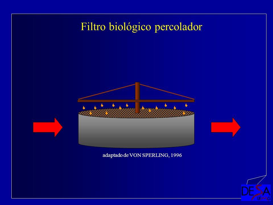 Filtro biológico percolador adaptado de VON SPERLING, 1996