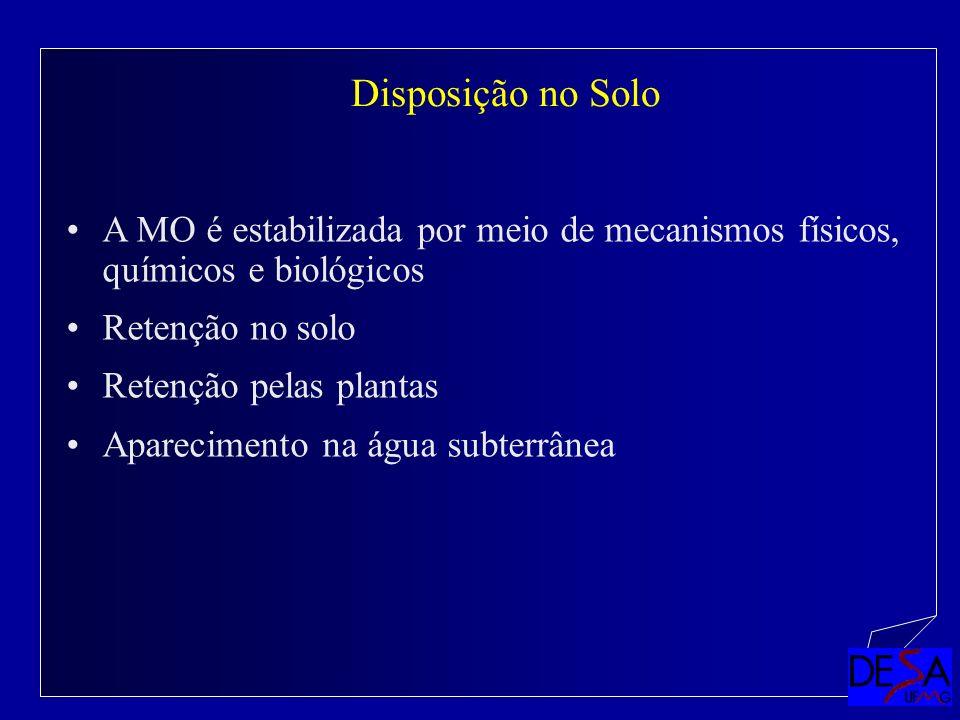 A MO é estabilizada por meio de mecanismos físicos, químicos e biológicos Retenção no solo Retenção pelas plantas Aparecimento na água subterrânea Dis