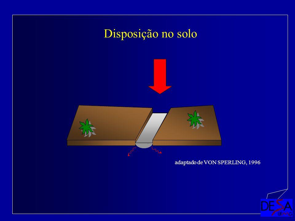 Disposição no solo adaptado de VON SPERLING, 1996