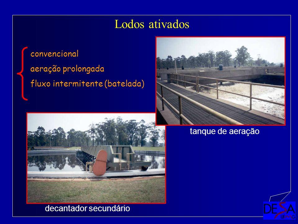 Lodos ativados convencional aeração prolongada fluxo intermitente (batelada) decantador secundário tanque de aeração
