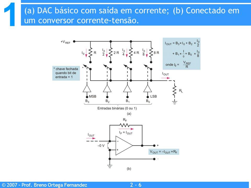 1 2 - 6 © 2007 – Prof. Breno Ortega Fernandez (a) DAC básico com saída em corrente; (b) Conectado em um conversor corrente-tensão.