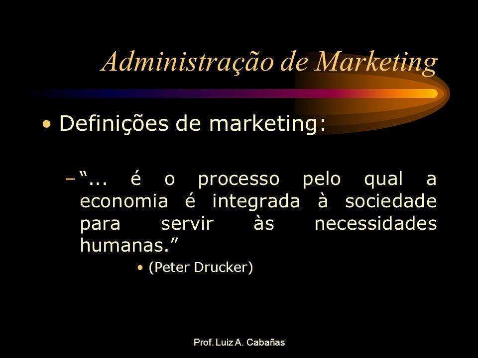 Prof. Luiz A. Cabañas Administração de Marketing Definições de marketing: –... é o processo pelo qual a economia é integrada à sociedade para servir à