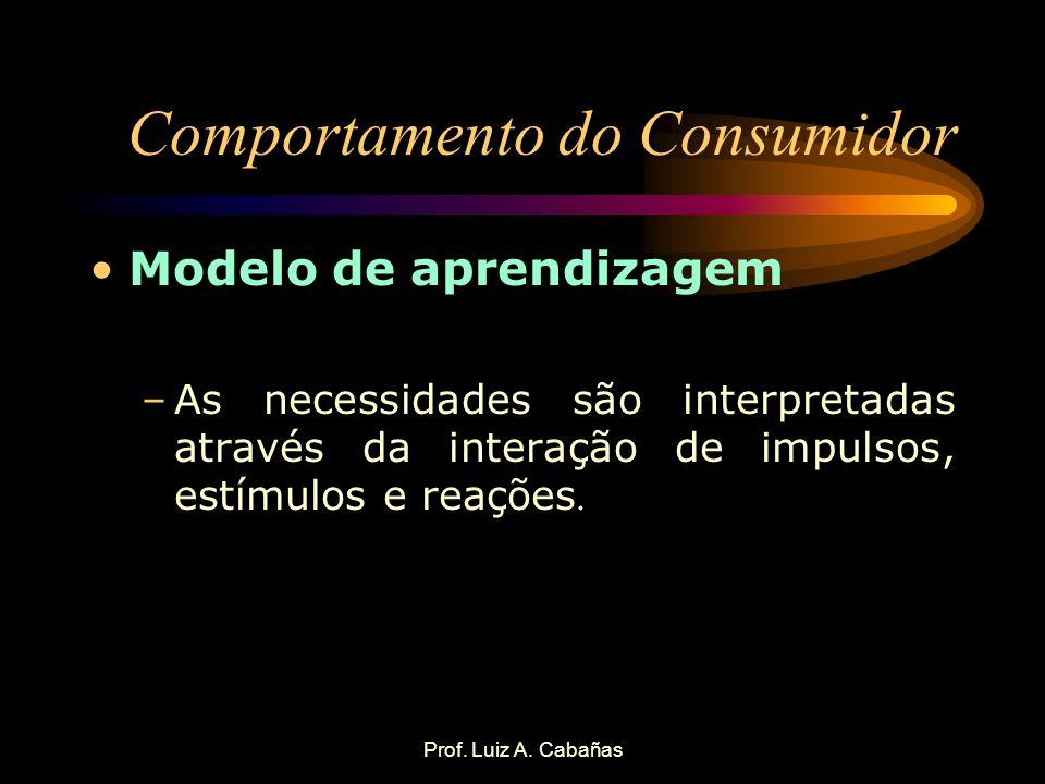 Prof. Luiz A. Cabañas Comportamento do Consumidor Modelo de aprendizagem –As necessidades são interpretadas através da interação de impulsos, estímulo