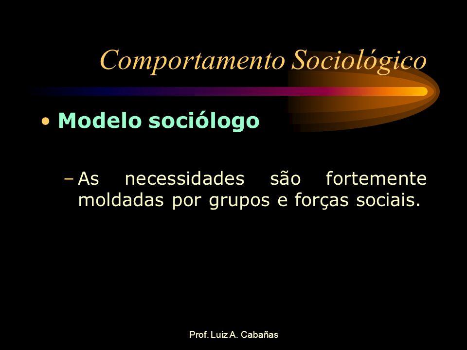 Prof. Luiz A. Cabañas Comportamento Sociológico Modelo sociólogo –As necessidades são fortemente moldadas por grupos e forças sociais.