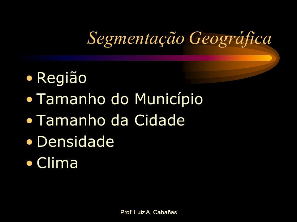 Prof. Luiz A. Cabañas Segmentação Geográfica Região Tamanho do Município Tamanho da Cidade Densidade Clima