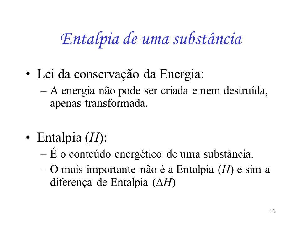 10 Entalpia de uma substância Lei da conservação da Energia: –A energia não pode ser criada e nem destruída, apenas transformada. Entalpia (H): –É o c